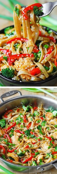Asian Sesame Chicken & Noodles in a homemade Asian sauce – delish and easy-to-make! Thinly sliced bell peppers, blanched broccoli, grilled or seared chicken, toasted sesame seeds. JuliasAlbum.com #Asian #pasta #noodles