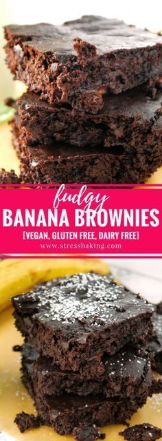 Fudgy Chocolate Banana Brownies: Super fudgy chocolate brownies that you could easily eat for breakfast! This dairy-free, gluten-free and vegan treat will satisfy any chocolate craving without destroying your diet.