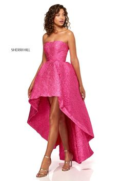 fe6b6626d18 Style 52418 from Sherri Hill is a strapless high low prom gown in a  textured fabric. French Novelty