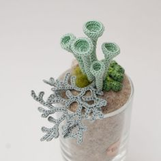 Woodland whimsy crochet lichen pixie cups miniature by elinart, £46.00