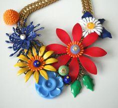Flower Statement Necklace by myfaunaflora on Etsy