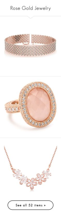 """""""Rose Gold Jewelry"""" by saskatoonmommy ❤ liked on Polyvore featuring jewelry, bracelets, necklaces, accessories, red gold jewelry, bridal jewellery, rose gold jewelry, bridal jewelry, diamond jewellery and rings"""