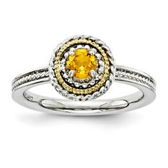 Stackable Expressions Sterling Silver & 14k Citrine Ring