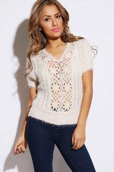 beige open crochet sweater knit dolman sleeve top