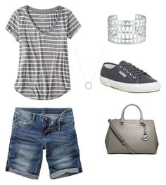 """""""Casual mom with understated accessories.  Bermuda shorts, with orthotic friendly Superga shoes.  Easy, affordable non-frumpy outfit for busy Mom."""" by mommaboss on Polyvore featuring Superga, Fat Face, American Eagle Outfitters, Stella & Dot, Michael Kors and MICHAEL Michael Kors"""