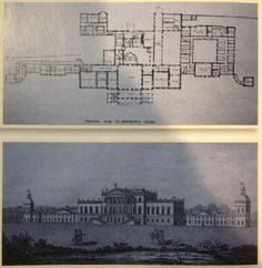 Wentworth Woodhouse, plan and engraving. English Baroque. The largest private house in the United Kingdom, boasting the longest facade of any house in Europe (at 606 ft., thank you very much), it was once a political palace for the Whigs and home to the Earls Fitzwilliam and the marquesses of Rockingham.