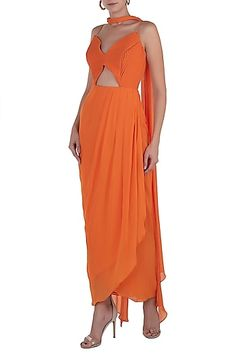 b13bc30c2a3c Shloka Khialani Featuring an orange overlap cut out anarkali gown in  georgette base. It is