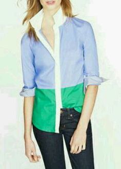 J.crew colorblock button-down