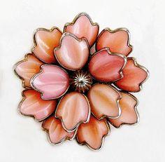Trifari Large Pink Flower Head Brooch by AgedandOpulentJewels