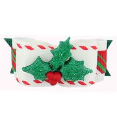 """Dog Bows Christmas White Christmas Holly Berries 5/8"""""""