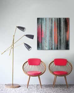 Original Abstract painting  Striped Neon colors  door RonaldHunter, $299.00