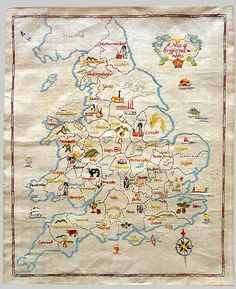 a small map embroidered sampler   depicting the major occupations  of the inhabitants of the UK