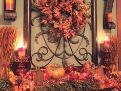 The Tuscan Home: Happy Halloween, Friends!  love the idea of adding orange lights to the mantle