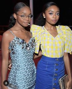 Marsai Martin Photos - Marsai Martin (L) and Skai Jackson attend the InStyle and Kate Spade dinner at Spring Place on October 2018 in Los Angeles, California. - InStyle And Kate Spade Dinner At Spring Place Pretty Black Girls, Black Girl Art, Black Girls Rock, Beautiful Black Women, Black Girl Magic, Beautiful People, Skai Jackson, Black Girl Aesthetic, Preteen Fashion