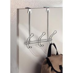 InterDesign Classico Over the Door Organizer Hooks for Coats, Hats, Robes, Towels, 3 Hooks, Chrome
