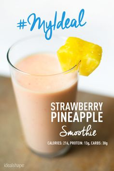 1 scoop Strawberry IdealShake mix, 1/2 cup of orange juice, 1/2 cup water, 1/2 cup strawberries, 1/2 cup pineapple (fruit can be frozen) Add ice if desired. Blend together