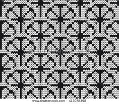 Knitted seamless pattern citrus segments black and white