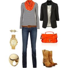 obsessed w/ stripes & the orange accent :)