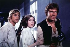 Han Solo is in! Mark Hamill as Luke Skywalker, Carrie Fisher as Princess Leia and Harrison Ford as Han Solo in a scene from 'Star Wars Episode IV: A New Hope' in Star Wars Trivia, Star Wars Film, Star Wars Episódio Iv, Star Trek, Star Wars Cast, Mark Hamill, Harrison Ford, Carrie Fisher, Luke Skywalker