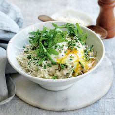 Savoury porridge with zucchini, parmesan, rocket and poached egg   Australian Healthy Food Guide