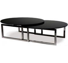 Table basse ovale en verre trempé noir Origami                                                                                                                                                      Plus