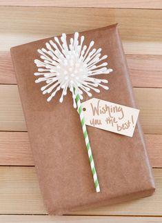 DIY Cotton Swab Dandelion Gift Wrap
