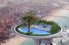 Swimming pool on the sky in Dubai.