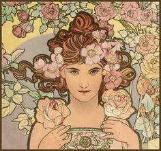 Mucha, Alphonse 'Les Fleurs-The Rose' 1898 | par Plum leaves