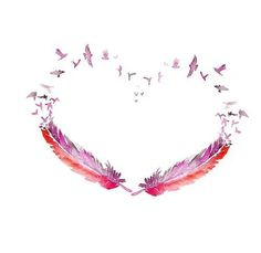 "Id like to have blue and pink watercolor feathers in this shape. With the name Adeline Harper written in the stems. With quote in the center, ""Your wings were ready but My heart was not."""