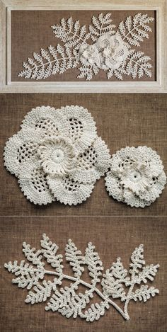 Timestamps DIY night light DIY colorful garland Cool epoxy resin projects Creative and easy crafts Plastic straw reusing ------. Crochet Lace Edging, Crochet Leaves, Knitted Flowers, Crochet Flower Patterns, Flower Applique, Thread Crochet, Crochet Doilies, Crocheted Lace, Doily Art