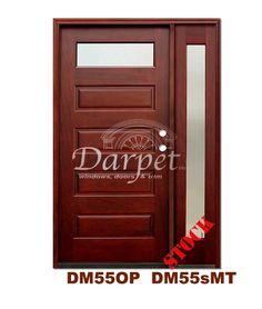 DM55MT1s 1 Lite Contemporary Mist Glass Exterior Wood Mahogany Door | Darpet Interior Doors for Chicago