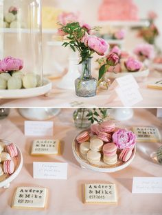 Pretty pink wedding edibles.  http://www.brosnanphotographic.com/