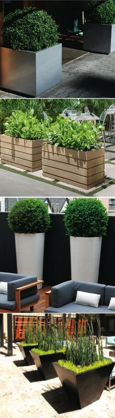 New garden decoration patio planters ideas - Modern Patio Planters, Backyard Patio, Backyard Landscaping, Concrete Planters, Outdoor Plants, Outdoor Gardens, Large Garden Pots, Modern Patio, Land Scape