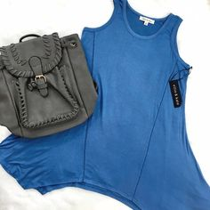 Blue Shark Hem Tank Tunic Perfect flowing summer neutral! Layer up for cooler days or pair with Capri leggings for those hot ones! ChicBirdie Tops Tank Tops
