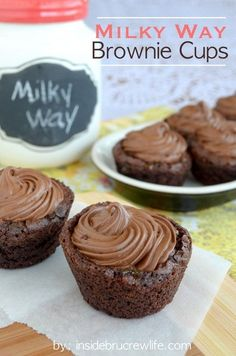 Mini brownie cups filled with caramel and whipped chocolate are fun to make and eat.