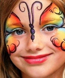 Simple face painting designs are not hard. Many people think that in order to have a great face painting creation, they have to use complex designs, rather then Girl Face Painting, Face Painting Designs, Painting For Kids, Body Painting, Face Paintings, Maquillage Halloween, Halloween Face Makeup, Butterfly Face Paint, Rainbow Butterfly