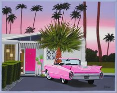PINK CADILLAC Modern Palm Springs mansion. Mid century modern living. This is a limited edition (200 prints) print by Linda Tillman. It is a print of an original gouache painting. Prints are all printed on archival matte paper. They are printed with a Canon iX6500 printer. Each print has a colored border as on the original painting. The edges of the composition fade softly into white as they do on the original painting. The print will fit a standard pre-cut matte for easy framing. The size is 14 Retro Art, Mid-century Modern, Modern Living, Circular Patio, Night Photos, Mid Century Art, Googie, Retro Futurism, Backgrounds