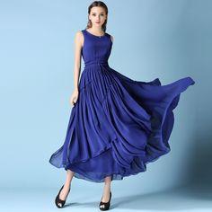 New 2017 Women Fashion Dresses Casual Elegant Blue Summer Long Maxi Chiffon  Womans Sleeveless Clothing Dress f5731df7fa61