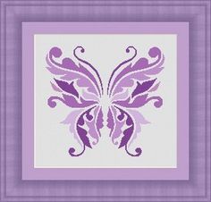 BUTTERFLY purple /papillon Counted cross by LudivinePointDeCroix