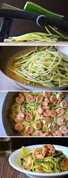 Carb Diet - Gambas al ajillo flaco con calabacín Fideos Seafood Recipes, Paleo Recipes, Dinner Recipes, Cooking Recipes, Dinner Ideas, Lunch Ideas, Healthy Cooking, Healthy Snacks, Healthy Eating