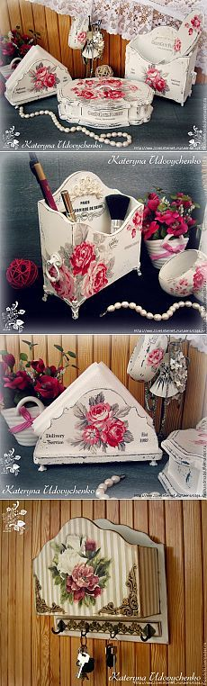 Site of the decoupage fans DCPG. Decoupage Vintage, Decoupage Box, Vintage Shabby Chic, Shabby Chic Style, Wood Crafts, Diy And Crafts, Mod Podge Crafts, Decoupage Furniture, Painted Furniture