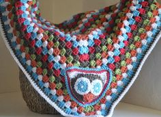 Owl Granny Square Baby Blanket - Keegan. $65.00, via Etsy.