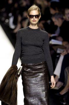 Céline leather skirt,