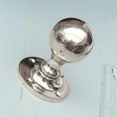 Round Polished Nickel Door Knobs - Pair
