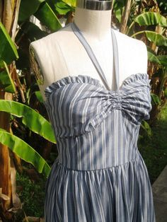 Striped chambray RUFFLE 1940s style vintage style by nudeedudee, $108.00