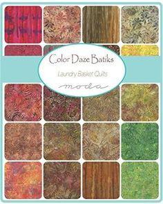 Buy Laundry Basket Quilts Color Daze Batiks 25 Fat Quarter Bundle Moda Fabrics by Makaret Elephant Quilts Pattern, Elephant Stencil, Quilt Patterns, Laundry Basket Quilts, Tree Quilt, Custom Quilts, Arts And Crafts Supplies, Charm Pack, Color