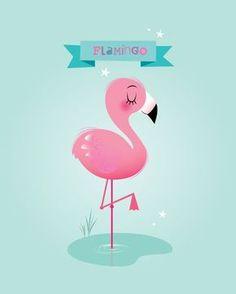 Chica vivero pared Flamingo lámina arte para niños vivero