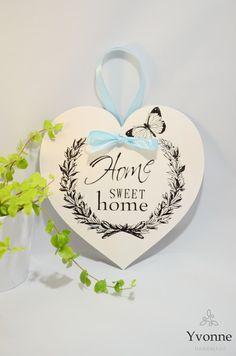 """Zawieszka serce decoupage """"Home Sweet Home"""" 20cm - Yvonne_hm - Ozdoby na ścianę"""