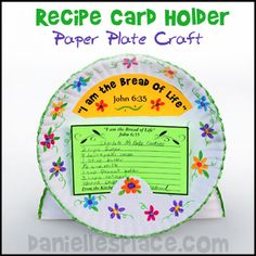 Paper Plate Recipe Card Holder Bible Craft for Children's Sunday School from www.daniellesplace.com