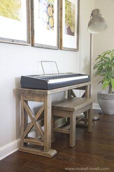 DIY Digital Piano Stand and Bench (...a $25 project!!)   via makeit-loveit.com Read Review here whatdigitalpiano.com